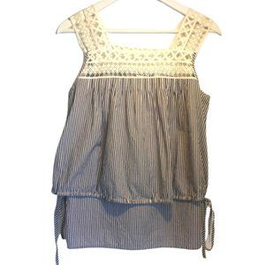 COUNTRY ROAD sz 8 striped top lace square neckline